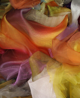Orange, purple, pink and yellow organzas (photo by Mary Taylor)