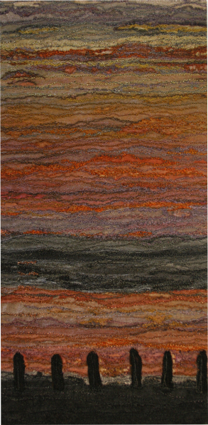 Sunset across the Kent estuary in Arnside (12x25 cms) by textile artist Mary Taylor