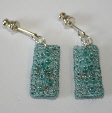 Light turquoise drop earrings by textile artist Mary Taylor