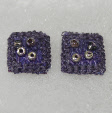 Dark lilac stud earrings by textile artist Mary Taylor