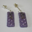 Lilac drop earrings (1) by textile artist Mary Taylor