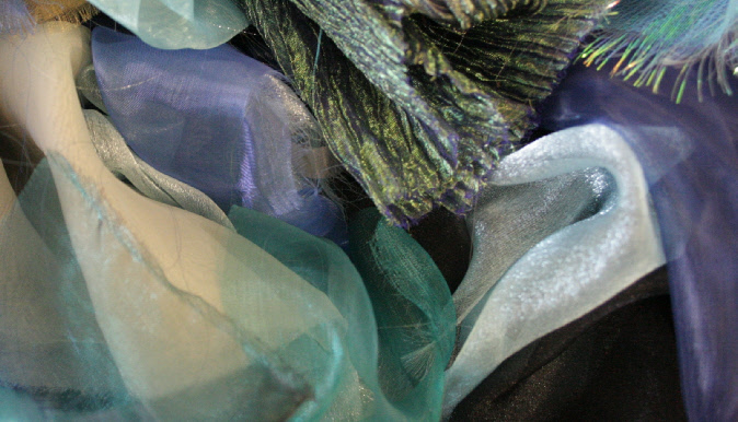 Turquoise and Blue organzas, used by textile artist Mary Taylor (photo by Mary Taylor)