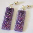 Lilac drop earrings (2) by textile artist Mary Taylor