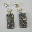 Silver and grey drop earrings (1) by textile artist Mary Taylor