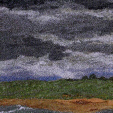 Storm over Beadnell Bay, Northumberland (12x36cms £250) by textile artist Mary Taylor