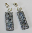 Silver and blue drop earrings by textile artist Mary Taylor