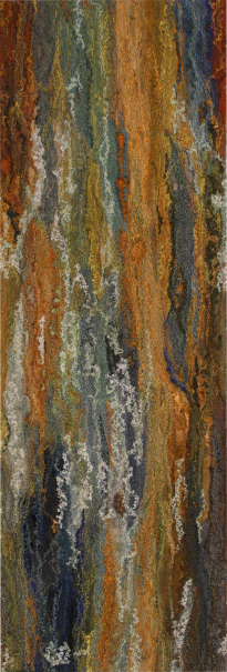 Rock face, Tilberthwaite Quarry near Coniston2 (12x36 cms £260) by Textile artist Mary Taylor