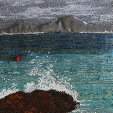 Red Buoy, Sanna Bay, Ardnamurchan (14x28cms £200) by textile artist Mary Taylor