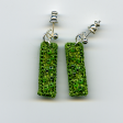 Lime drop earrings by textile artist Mary Taylor