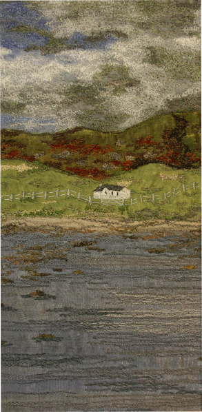 Ardalanish beach on the Ross of Mull (12x25 cms) by textile artist Mary Taylor