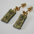 Olive and gold drop earrings by textile artist Mary Taylor